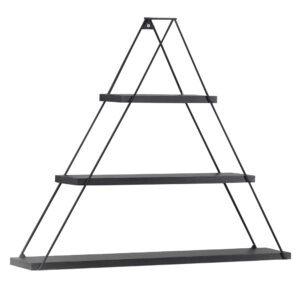 Raft triunghiular de perete cu 3 polite, 74 x 13 x 61 cm, negru, Quasar Deko, MT191005-56130