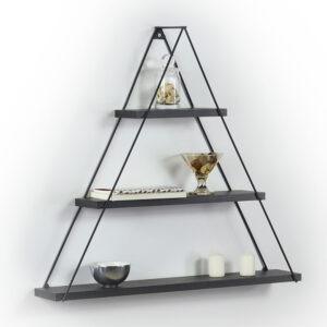 Raft triunghiular de perete cu 3 polite, 74 x 13 x 61 cm, negru, Quasar Deko, MT191005-0